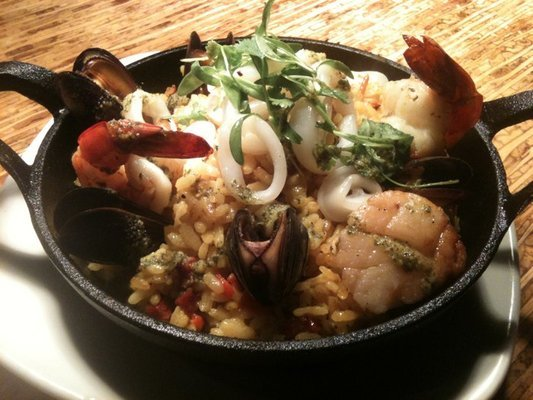 Traditional Spanish saffron rice dish w/ bell peppers,chorizo,diver scallop,shrimp,calamari,mussels. - Paella Mariscos at Talara