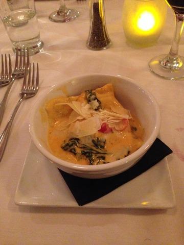 Lump Crab Cake Ravioli in an Organic Spinach and Grape Tomato Spicy Cream Sauce. - 6 Course Wine Dinner at Alfio's buon cibo
