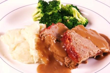 American Meatloaf with Glazed Ketchup Crust and Beef Gravy at Top Chef Meals