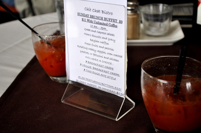 The Bloody Marys are small, and have no garnish, but they taste good, and the bartender keeps them c - Bottomless Bloody Marys at Chit Chat Bistro