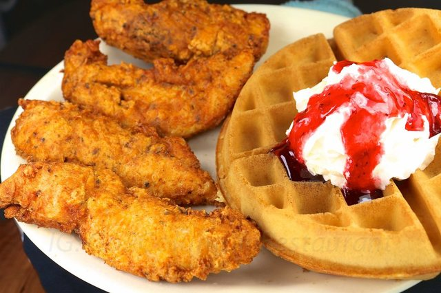Chicken & Waffle w/strawberry at columbia restaurant