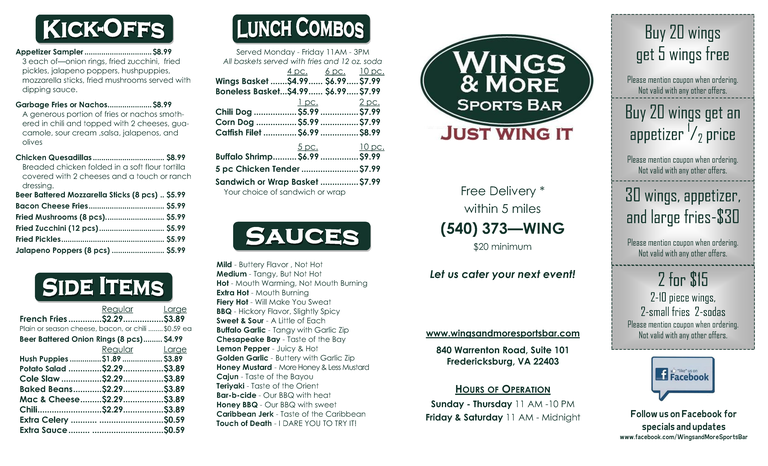 Restaurant Menu at Wings & More Sports Bar