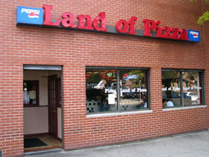 Exterior at Land of Pizza