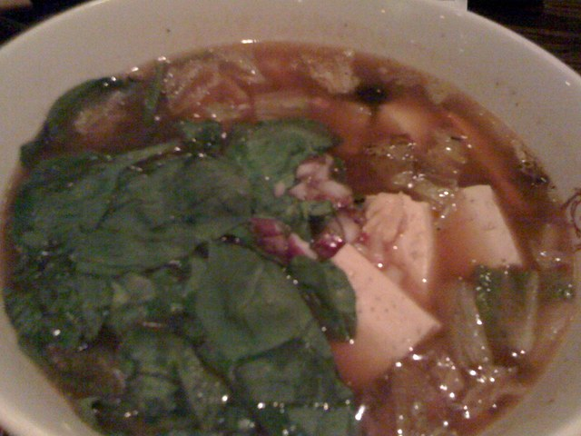Spinach Miso Ramen Noodle Soup at Buddha's Belly