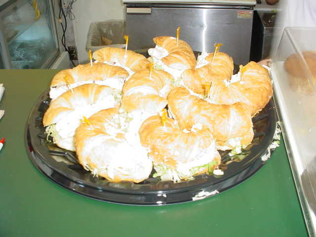 A tray of their chicken salad sandwhiches for a catering job - Photo at Hoboken Bread & Bagel Co