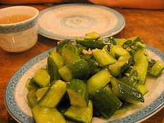 Cucumber with Garlic and Sesame Oil at Spicy & Tasty