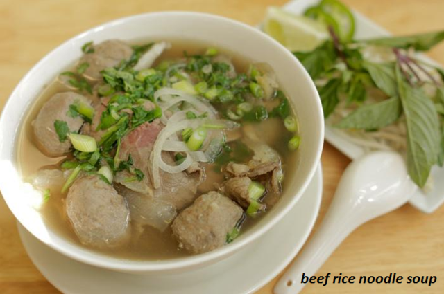Photo of beef rice noodle soup