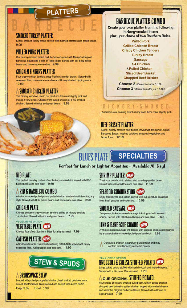 Restaurant Menu at Sticky Fingers Smokehouse