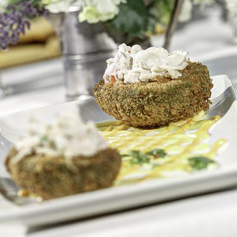 Crab salad, spicy aioli and lemon saffron aioli. So unique - a classic Coles specialty! - Panko Fried Avocado at Coles 735 Main