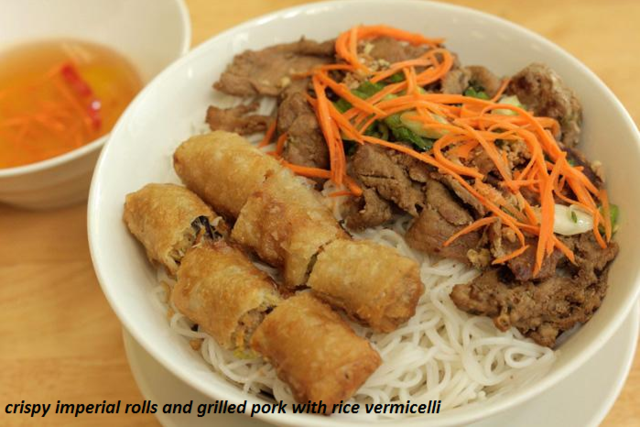 crispy imperial rolls and grilled pork with rice vermicelli at French Baguette