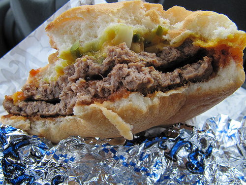 Can't comment....eating. - Double Cheeseburger at Peter's Drive-In