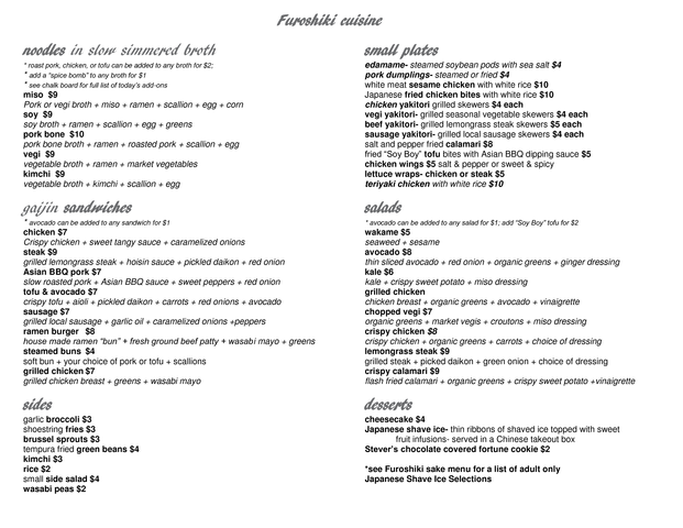 Menu subject to change - Menu at Furoshiki