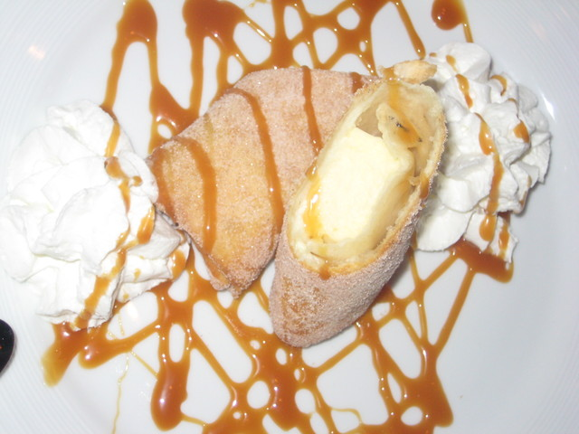 The Yummy Cheescake Burrito with Caramel sauce - Banana Cheesecake Churro Burrito at Larsen's Steakhouse