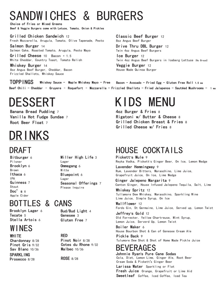 Restaurant Menu at Barley
