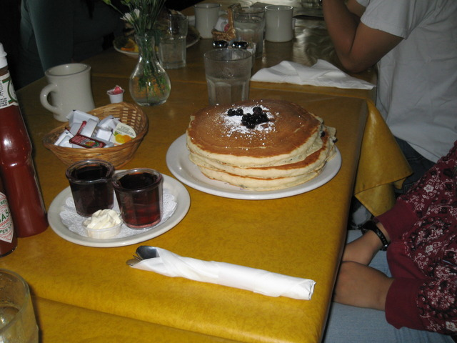 Blueberry pancakes at Brown Bag Cafes
