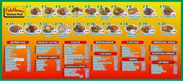 Fidelbertos Mexican Food Menu Amp Reviews Glendale 85303