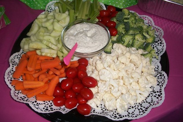 assorted veggies & dill dip serves 25 - Vegetable Tray at Rocky Mount Bar-B-Q-House