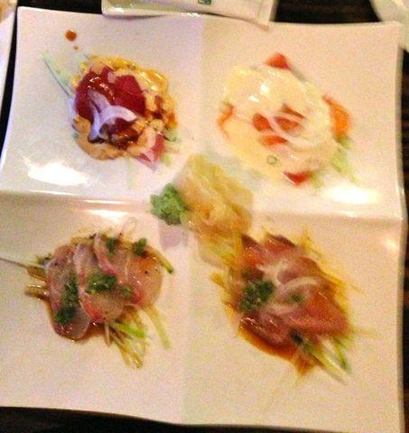 out of focus--- sorry! - Sashimi Quartet at Kai Sushi & Sake Bar