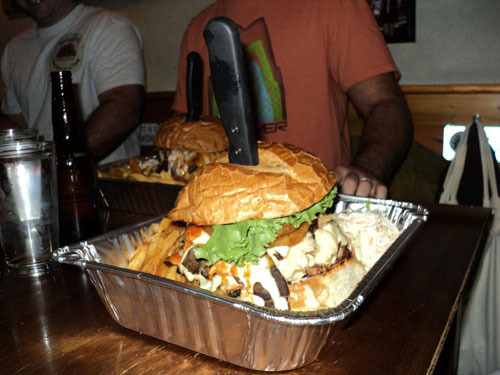 Take the Flatliner Challenge! Eat the whole thing by yourself in less than 25 minutes and it's FREE! - The Flatliner at The Halligan