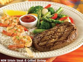New Sirloin Steak & Grilled Shrimp at Carrows