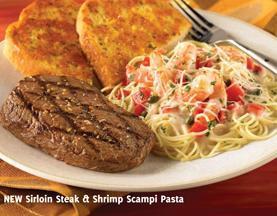 New Sirloin Steak & Shrimp Scampi Pasta at Carrows