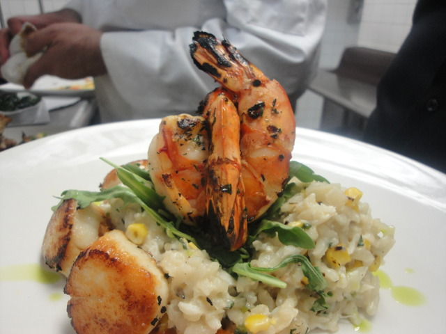 SEARED DIVER SEA SCALLOPS & GRILLED JUMBO SHRIMP at Thyme Restaurant & Cafe Bar