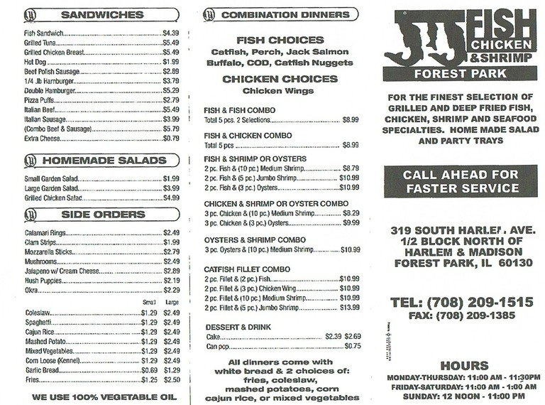 J j fish chicken locations near me in illinois il us for J j fish menu