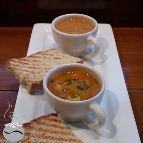 Which soup would you like today? Potato&Bacon, Moroccan Vegetable or Butternut Squash? This trio is  - Soup Bar ~ Selection of 6 Soups Every Day at Toast Cafe