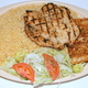Rice Pilaf, Salad with Greek Dressing, and Garlic Bread - chicken breast plate at Squabs Gyros