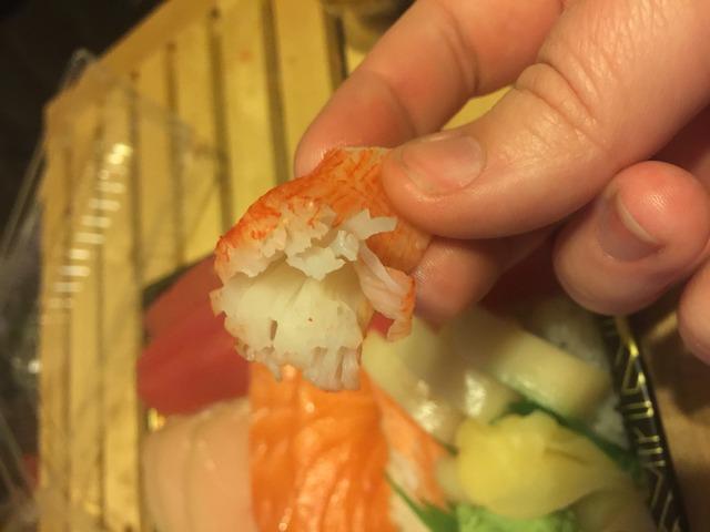 Imitation crab meat served in a $20 sashimi dish - 15 piece chirashi at Ninja Asian Fusion