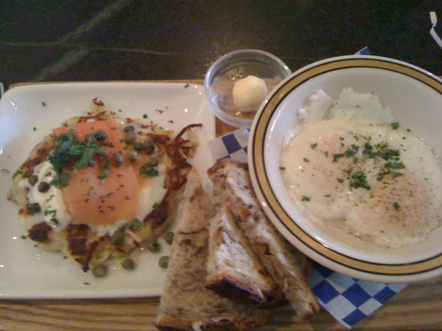 Salmon Gravlax with Potato pancake and poached eggs at Broder