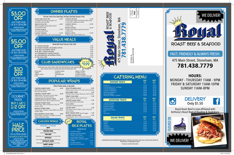 Restaurant Menu at Royal Roast Beef & Seafood