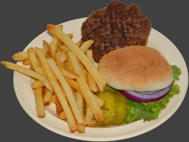Certified Angus Beef® burgurs are hand-formed each day, char broiled on an open flame and served wit - Burger and Fries at Ranch House Grille