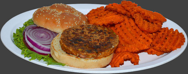 Served with sweet potato fries. - Vegetarian Blackbean Burger at Ranch House Grille
