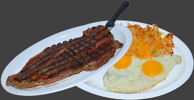 A generous choice sirloin steak, Certified Angus Beef 16oz. sliced fresh each day. Served with eggs, - Ranch House Steak & Eggs at Ranch House Grille