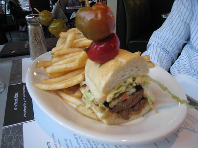 """rich boy"" with uli's hot sausage at Steelhead Diner"