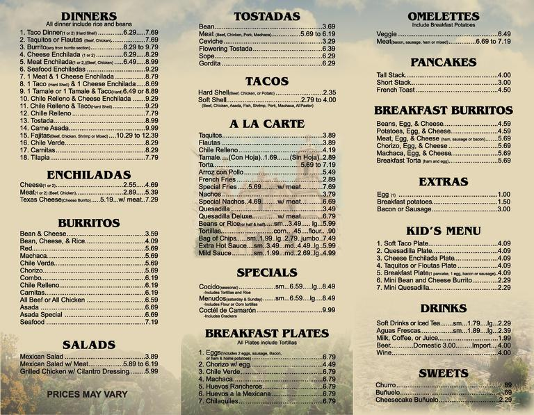 Tios Mexican Restaurant Menu