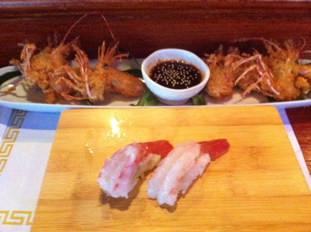 Fresh Ama Ebi and the fried head at Momo's Sushi Japanese