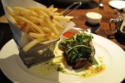 Petite Filet Steak Frites at B&O American Brasserie