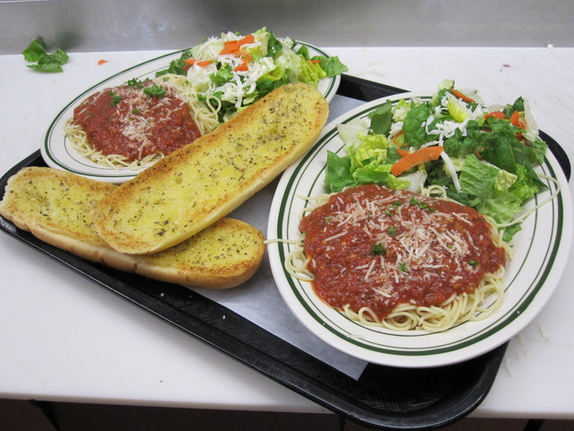 Pasta and Salad Plate - our lunch special at Perry's Pizza & Italian Restaurant