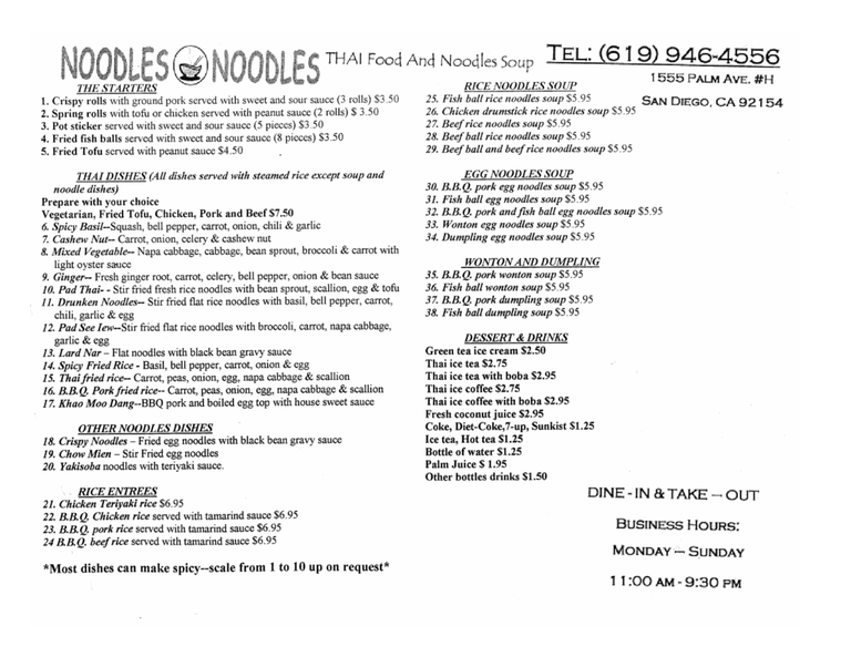 Restaurant Menu at Noodles Noodles