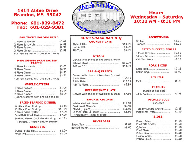 Abbie 39 s fish house menu reviews brandon 39047 for J j fish menu