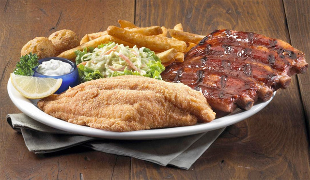 Rib & Catfish Platter at Red Hot & Blue Restaurant