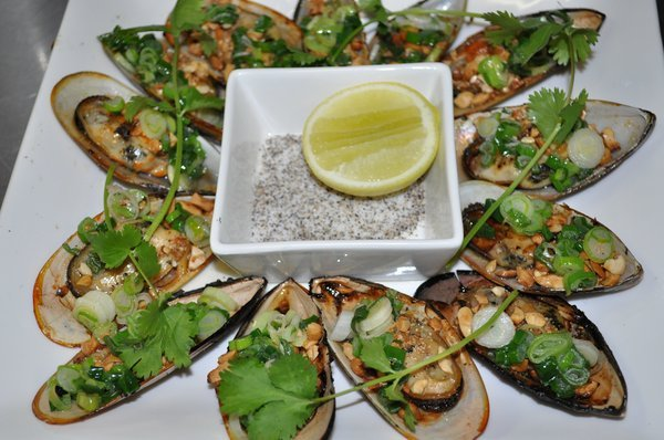 Grilled Mussels with Green Onion at Eight Heaven Restaurant and Lounge