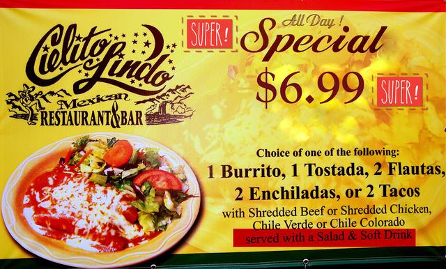 Choose from Burrito, Tostada, Flautas, Enchildas or Tacos - All Day Special at Cielito Lindo Mexican Restaurant & Bar