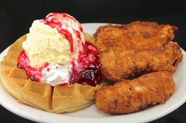 Chicken & Waffle w/ Ice Cream at columbia restaurant