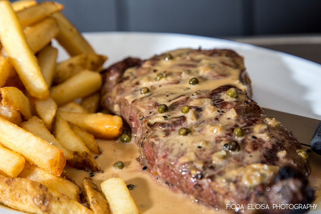 Steak Frites Au Poivre at Barley