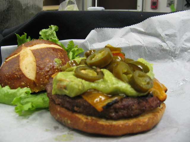 Made with creamy guacamole, jalepeno slices and cheddar cheese. - Chicago Fire Burger at Chicago Blu Grill and Bar