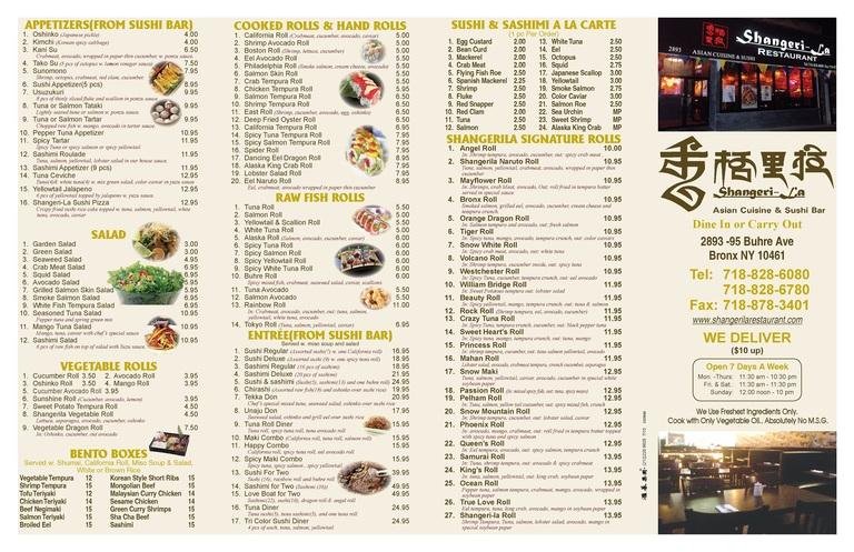 Restaurant Menu at Shangerila Restaurant