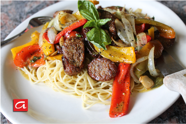 Sausage and Peppers Dinner - Sausage and Peppers at Antonios Pizza & Italian Restaurant